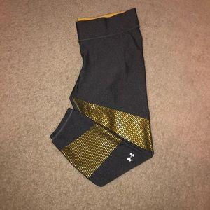 Grey and Gold Under Armour Capri Athletic Legging